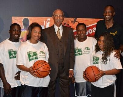 Students at last year's basketball camp met Detroit Mayor Dave Bing and basketball great Greg Kelser.