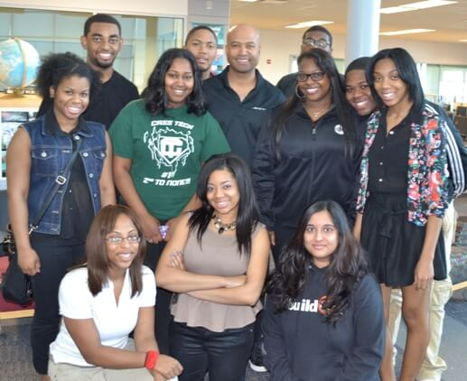 Chrysler Group's Ralph Gilles withe students at Cass Technical High School.