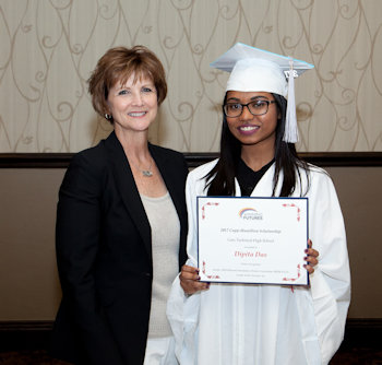 Dipita Das (right) with her mentor, Sharon vanSpronsen (left), at the 2017 Awards Ceremony where Dipita received a Winning Futures scholarship.