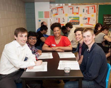 Kathy Morgan with students